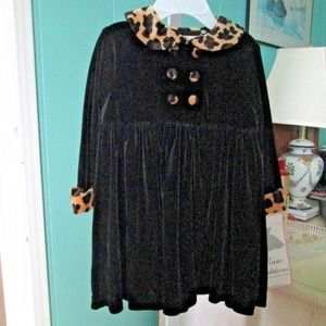 Black Velour with Leopard Trim Coat Dress NWT